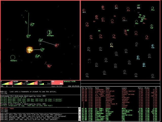 Netrek is a free online war game. Battle online with up to 16 people per game.